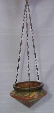 Roseville Pottery Futura Hanging Planter Deco Leaves For Sale