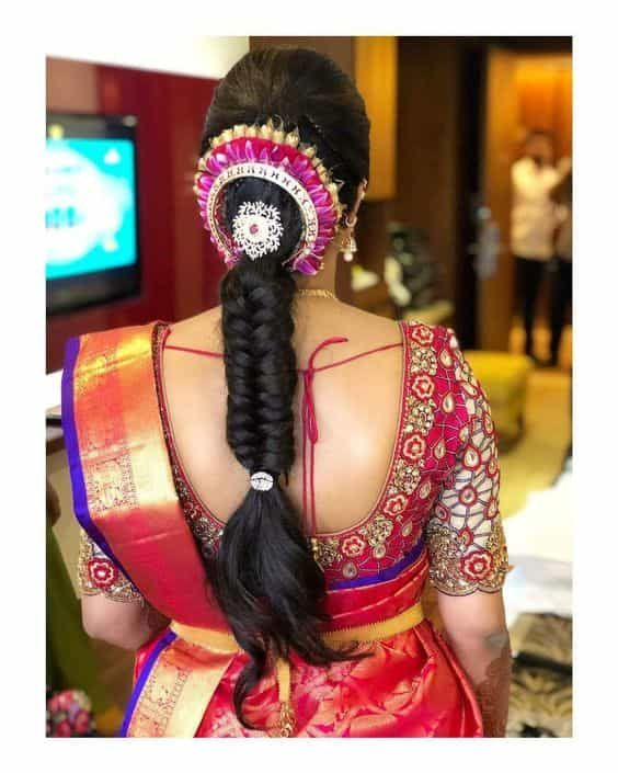 Simple Braided Hairstyle For Engagement Bridal Hairstyle Indian Wedding Engagement Hairstyles Indian Hairstyles