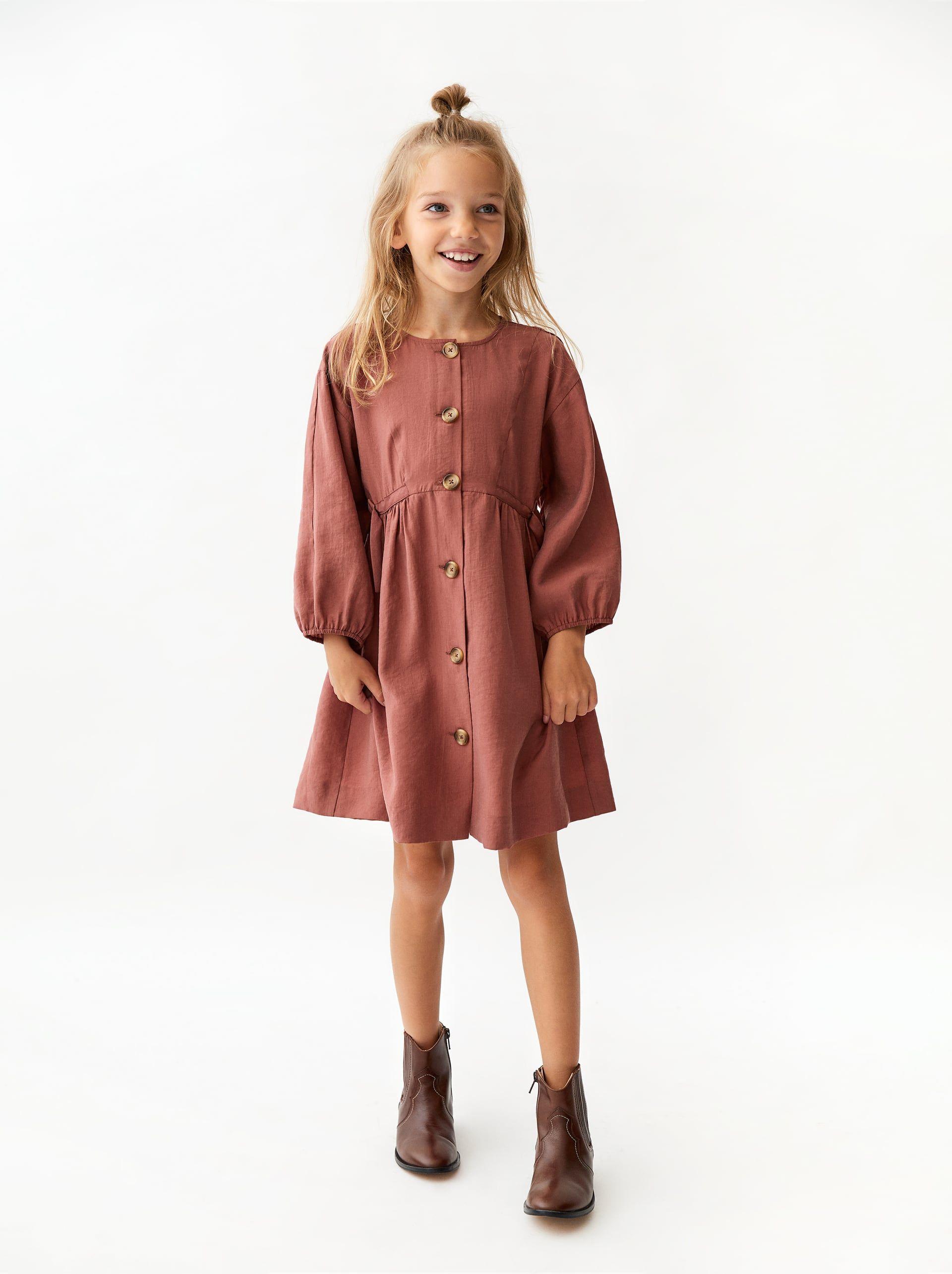 Zara Kids Shirt Dress With Buttons Madchen Kleidung Kindermode Kleider Mode Outfits