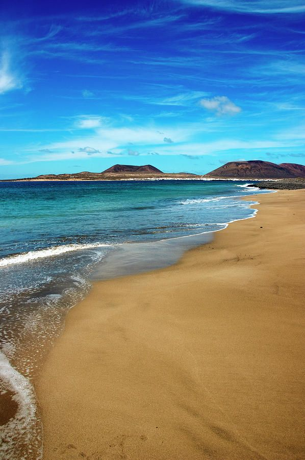 Crystal Clear Water Caresses Sand Of Beach El Risco Lanzarote