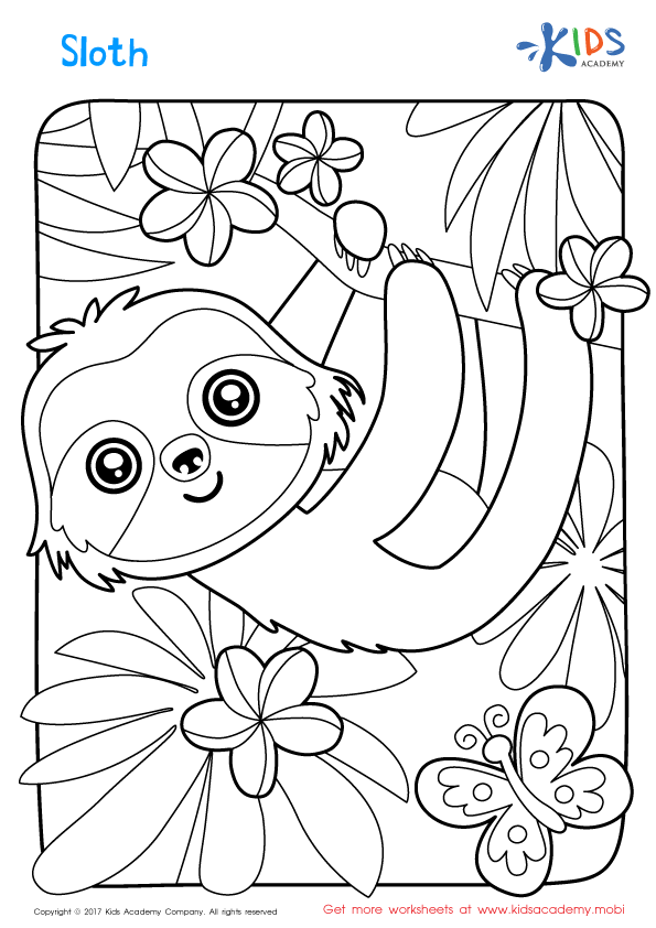sloth coloring pages Sloth Coloring Page | Coloring Pages for Kids | Coloring pages  sloth coloring pages