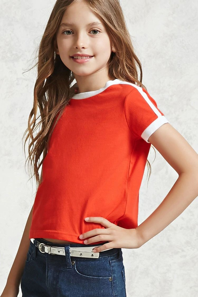 a3760eddf Forever 21 Girls - A knit ringer tee featuring contrast ribbed trim ...