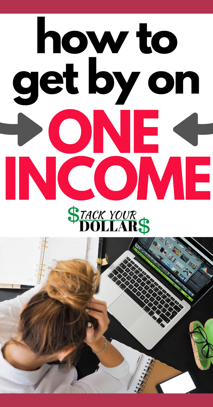 If you or your spouse has recently lost their job, and you now need to figure out how to get by on one income, this post will be very useful for you. We've been living on one income for some time, and I've learned things along the way that will help you figure out how to survive on one income. You may even find that you can thrive this way, and continue being a one income family even after regaining employment! #oneincome #frugalliving #stackyourdollars #singleincome #lostjob