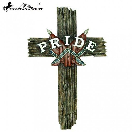 """Wood-Like """"PRIDE"""" Resin Wall Cross 15"""""""