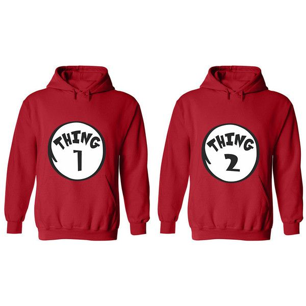 5ea53d2a85 Thing 1 Thing 2 Couple Hoodies Matching Couple Sweaters Couple Shirts...  ($40) ❤ liked on Polyvore featuring tops, hoodies, pattern shirt, pattern  hoodie, ...