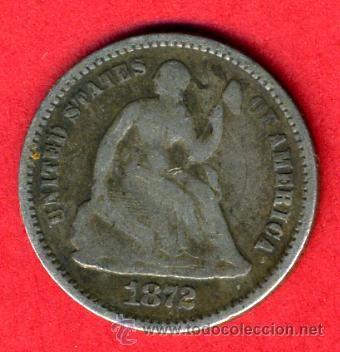 MONEDA 1/2 CENTAVO HALF DIME DE DOLAR PLATA 1872 , ESTADOS UNIDOS
