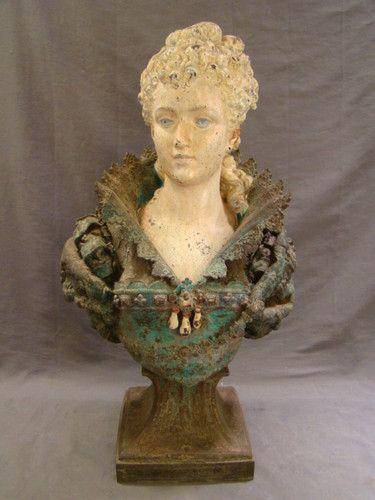 Old Garden Statue: LG Antique VICTORIAN Era GARDEN Sculpture FRENCH Spelter