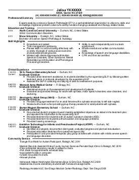Resume Template Speech Language Pathologist