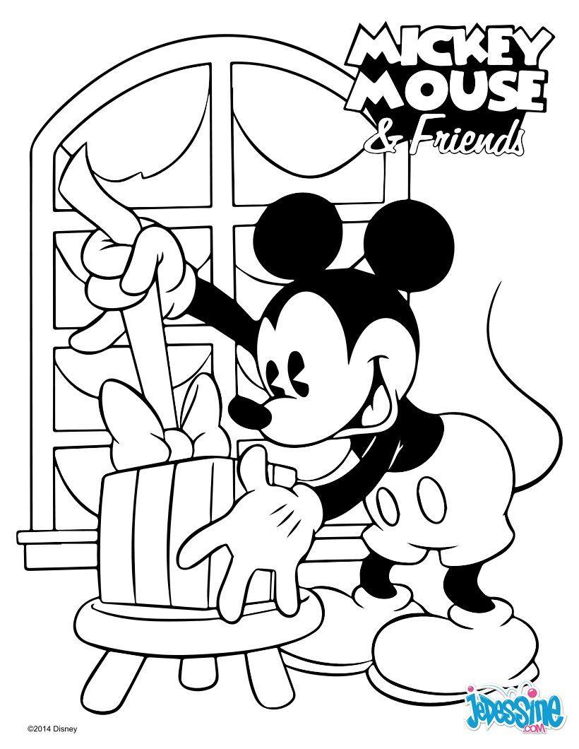 un joli coloriage de mickey et ses amis viens colorier mickey nol un coloriage pour tous les enfants fans des dessins anims disney