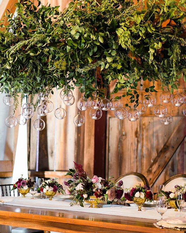 Outdoor November Wedding Flowers: Hanging Flowers And Greenery For A Barn Wedding During