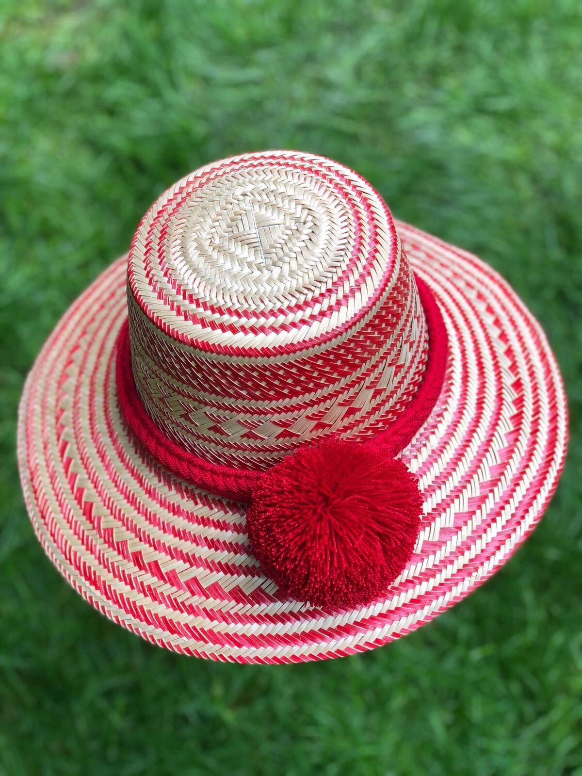 55092480 Excited to share the latest addition to my #etsy shop: Straw Hat/ New  Unique Red Summer Hat with RED Pom-poms / Formal Summer Hat/ Wide Brim  Straw Hat/ ...