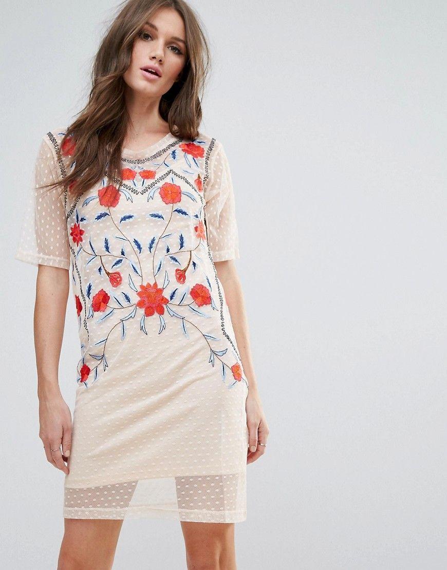 27ff67ae83c shirt v midi ASOS DESIGN dress t back embroidered TIdk9 .