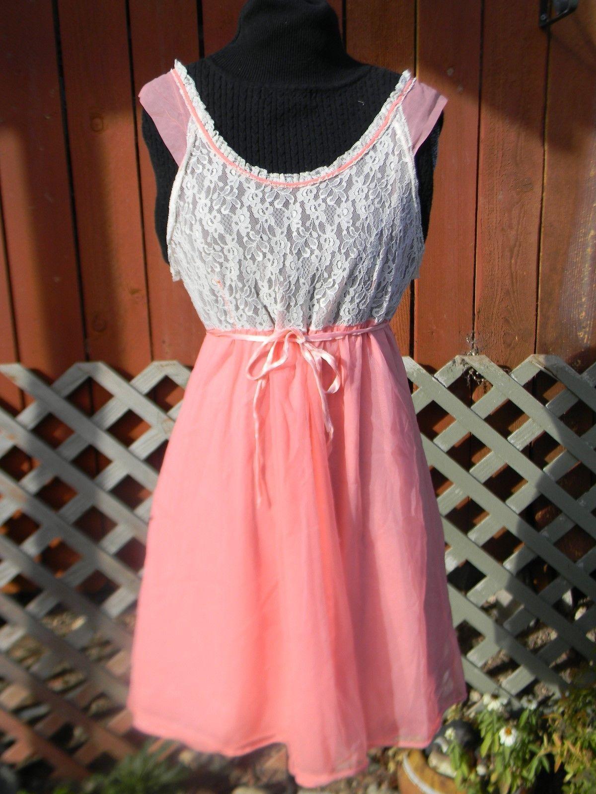 615356923c45 Pink White Chiffon Nightgown Peignoir Negligee Babydoll Gown Medium ...