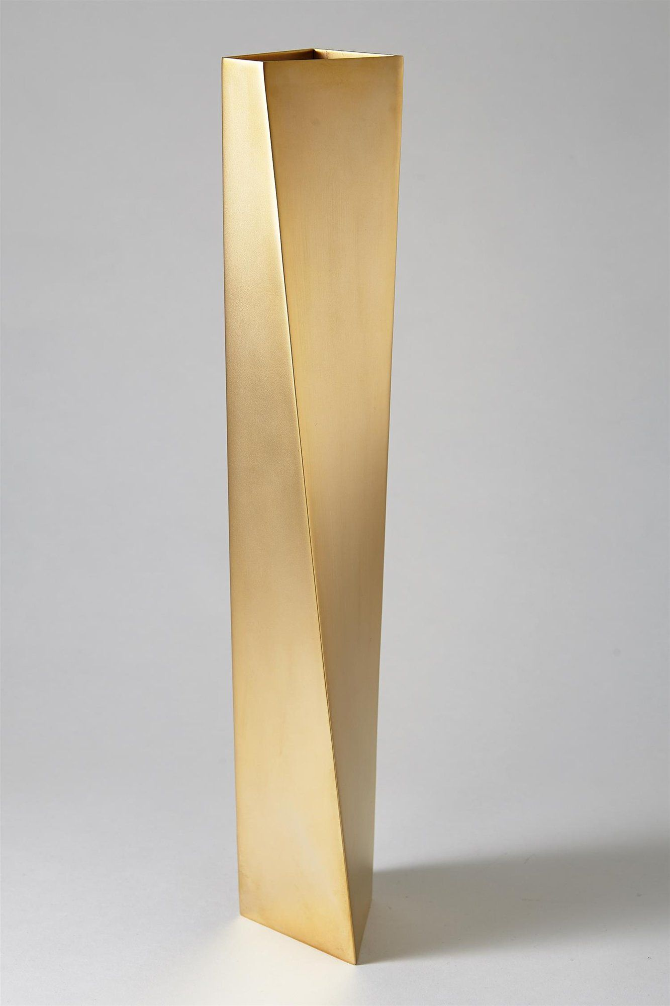 ZAHA HADID for Alessi : 'Crevasse' Vase, Italy, 2005 | From the limited edition of 999; stainless steel with gold PVD matt coating; 42 cm height | MODERNITY of Stockholm