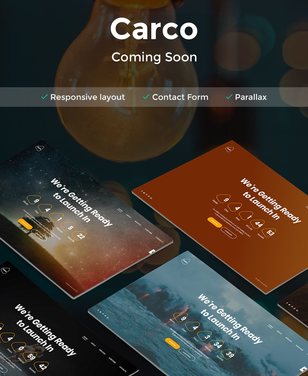 Carco - Coming Soon HTML5 Specialty Page Coming Soon Website Template,
