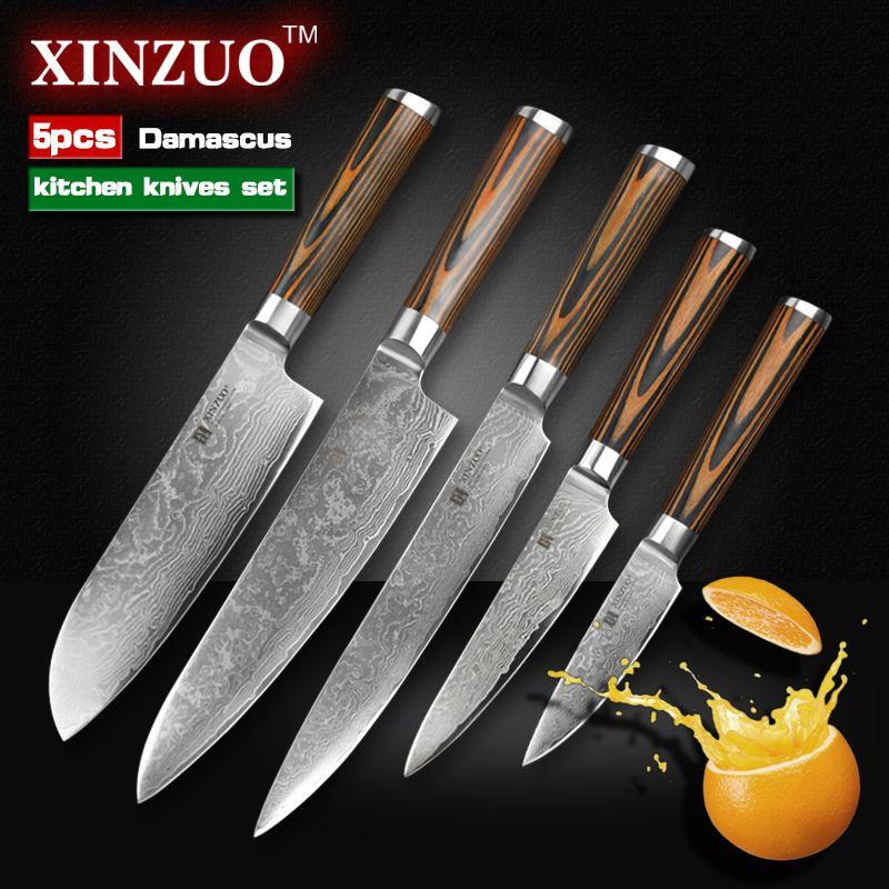 XINZUO 5 pcs Kitchen knives set Japanese Damascus kitchen ...