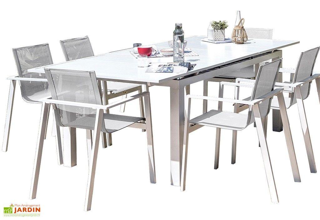 Salon De Jardin Mykonos En Aluminium Blanc 1 Table 6fts Salon De Jardin Table Table Extensible