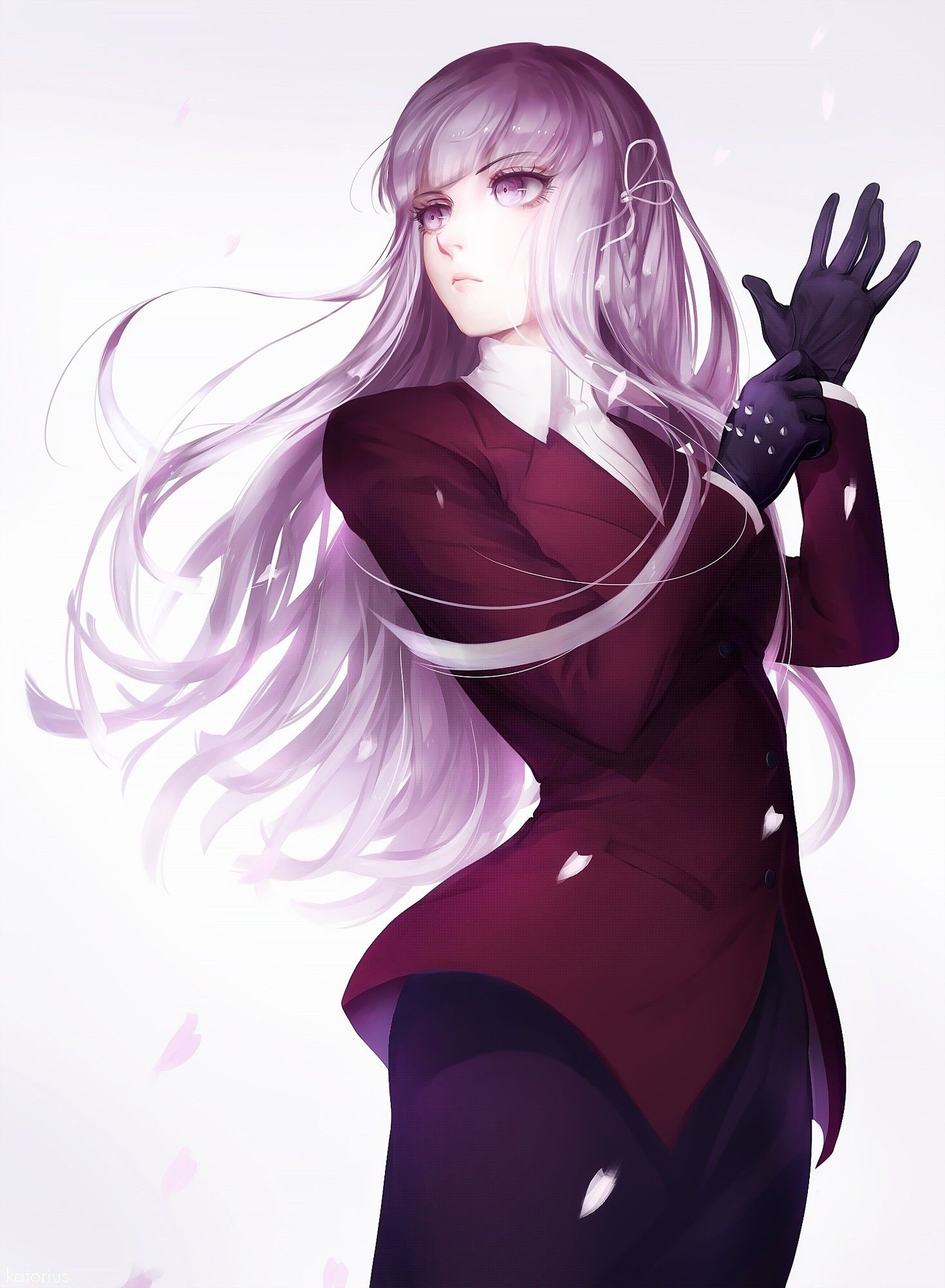 Anime 1468x2000 anime anime girls danganronpa kirigiri kyouko long hair purple hair purple eyes