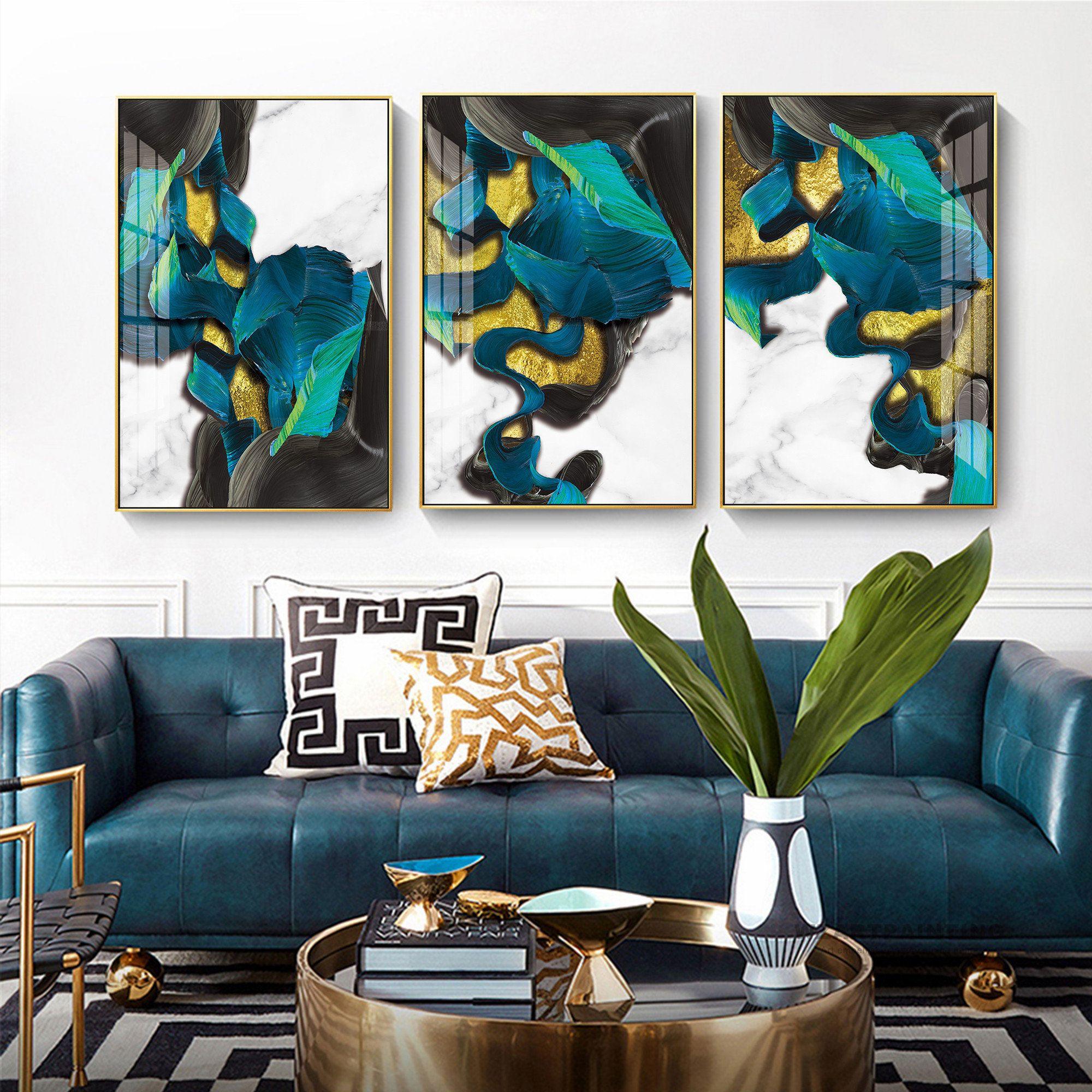 Framed Wall Art Set Of 3 Prints Abstract Gold Navy Blue Black Etsy Framed Wall Art Sets Frames On Wall Framed Wall Art