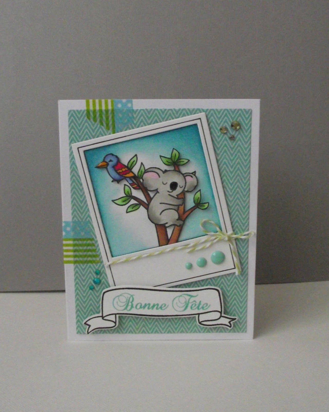 DONE -- koala baby card - Lawn Fawn - Critters Down Under, Say Cheese Lawn Cuts Die, Bannerific