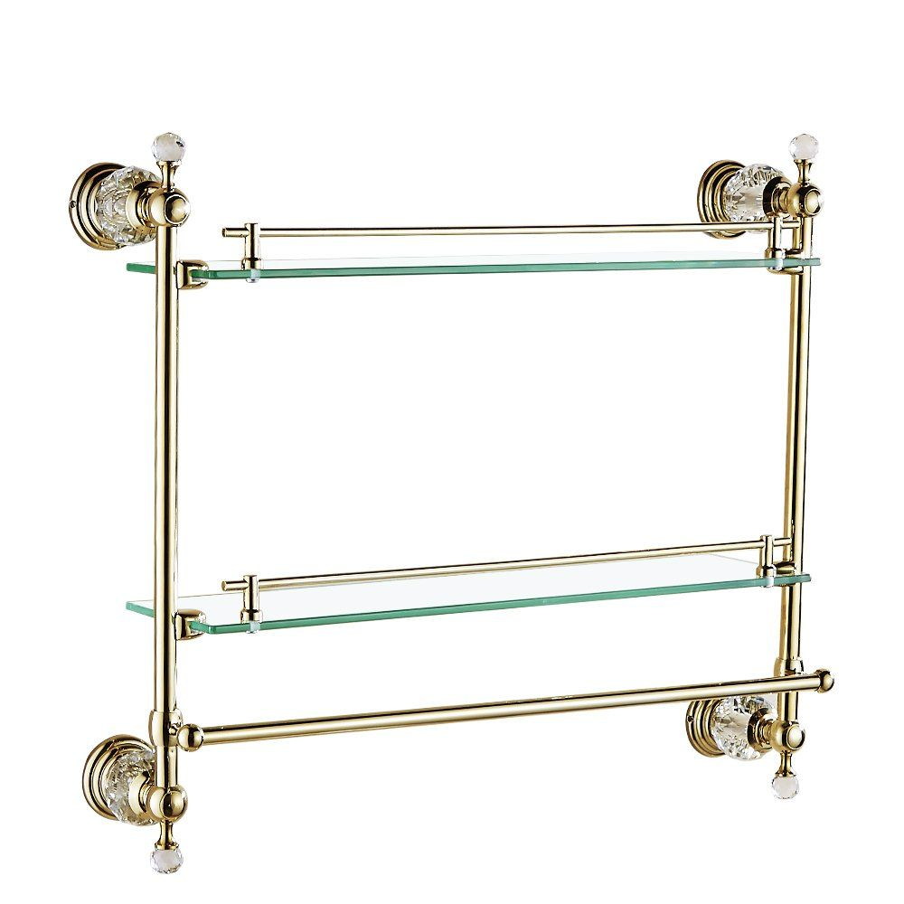 AUSWIND Antique Gold Crystal 2-Layer Glass Shelf with Towel Bar Wall ...