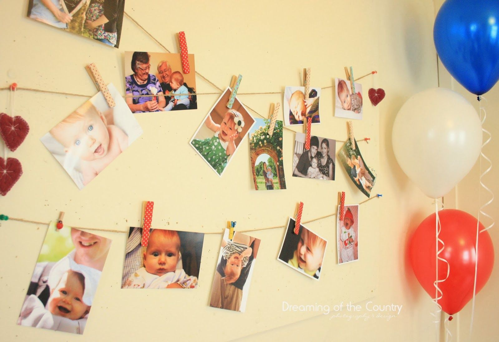 Washy tape covered pegs for 1st birthday party photo wall. Dreaming ...