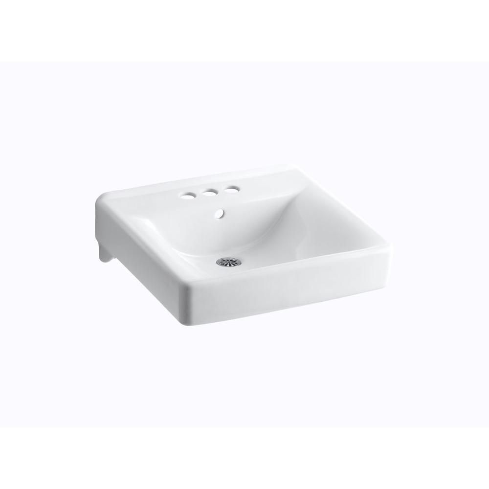 Kohler Soho Wall Mount Vitreous China Bathroom Sink In White With Overflow Drain K 2054 0 The Home Depot Wall Mounted Bathroom Sinks Sink Tub And Shower Faucets