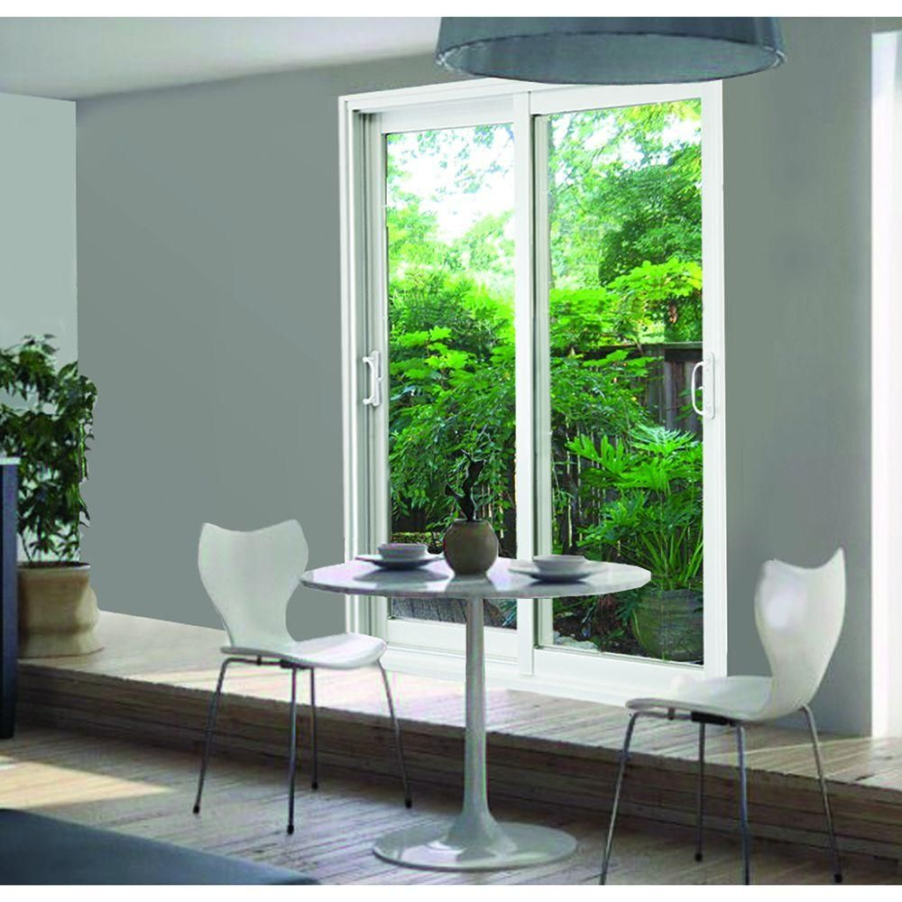 Stanley Doors 72 In X 80 In Double Sliding Patio Door Clear Low E 600001 The Home Depot Double Sliding Patio Doors Sliding Patio Doors Stanley Doors
