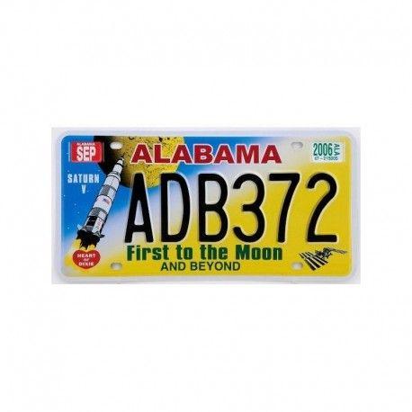 ALABAMA first to the moon USA PLAQUE IMMATRICULATION Américaine