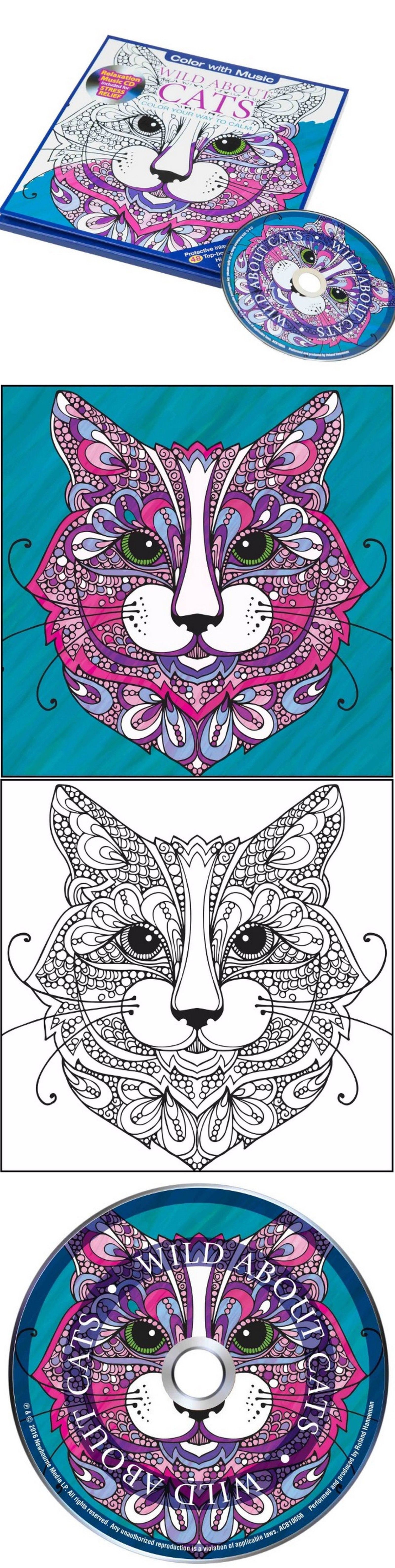 Stress relieving cats coloring - Instruction Books And Media 160640 Coloring Art Book New Cats Adult Stress Relieving Relaxing Design