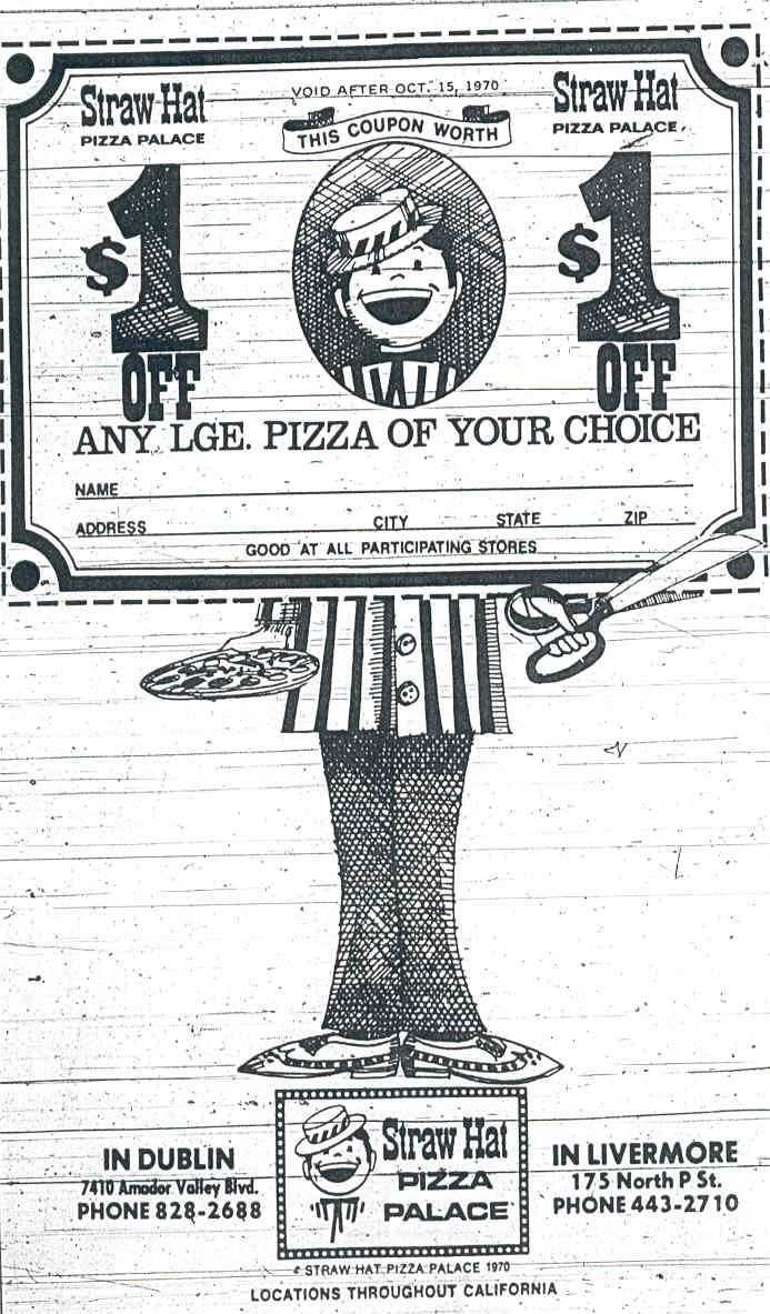 Straw Hat Pizza 70 S Coupon The Old Straw Hat Pizza Pinterest