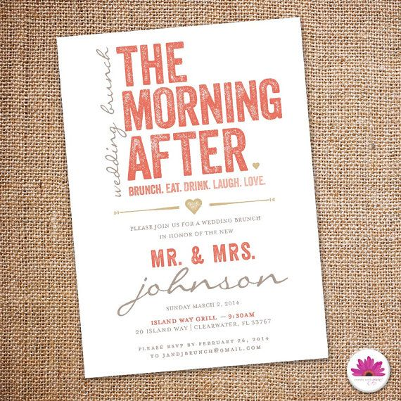 The morning after wedding brunch invitation digital file the morning after wedding brunch invitation 5 by eventswithgrace filmwisefo Image collections