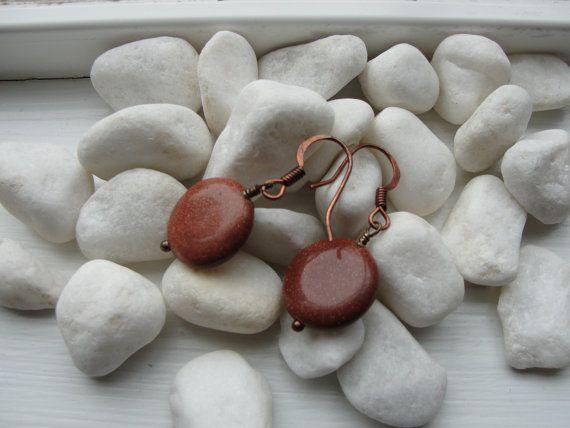 Brown Goldstone Earrings by ZaZaJewels on Etsy, $13.00