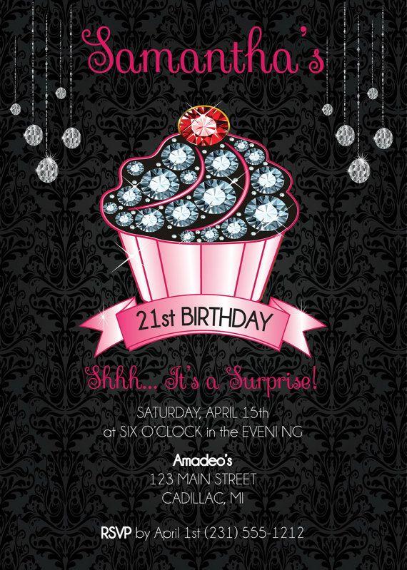 Cupcake 21st Birthday Invitation - Adult Birthday Party Invitation - birthday invitation for adults