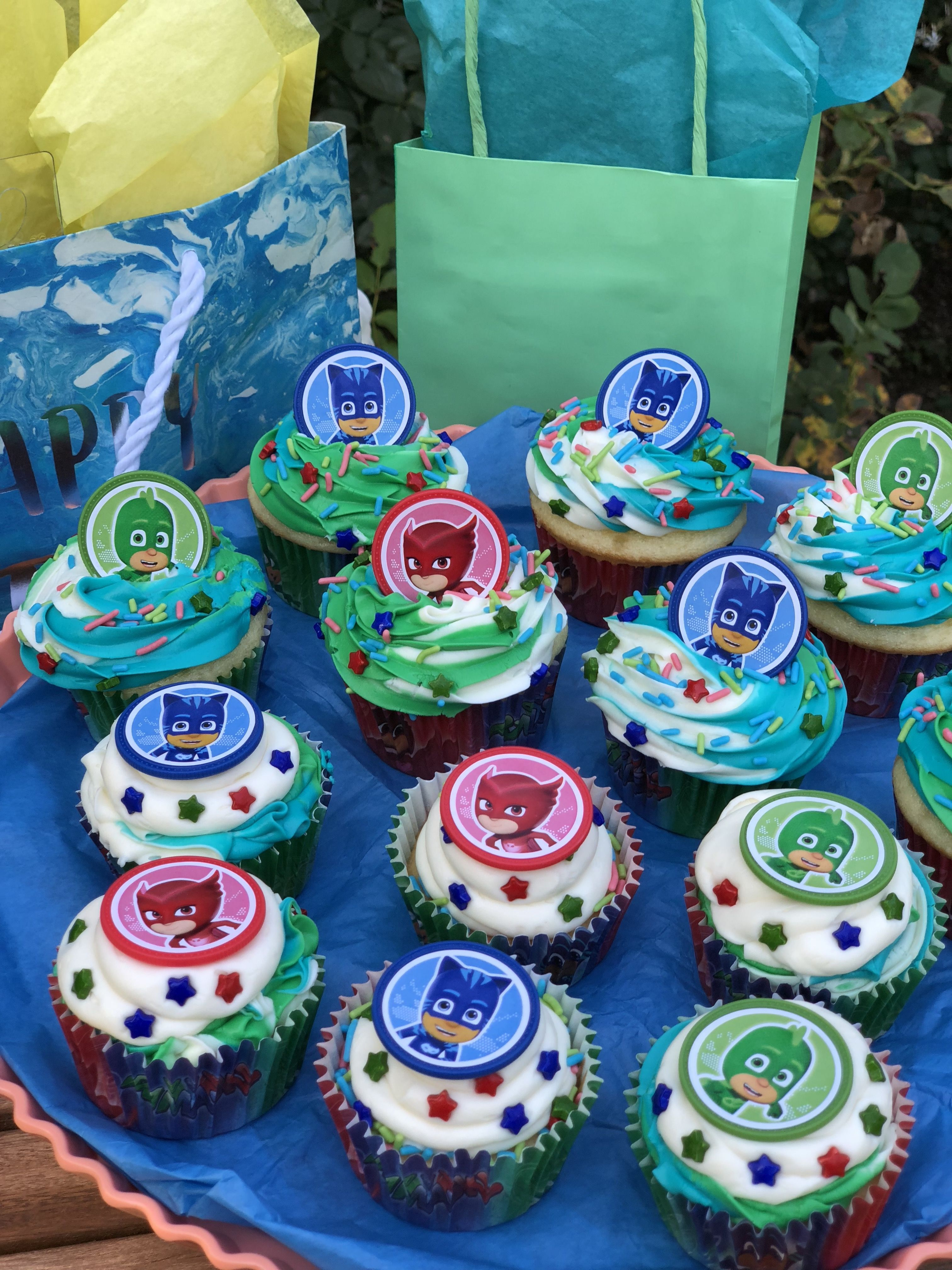 Fantastic Food Pj Mask Cupcakes Pj Mask Pj Masks Birthday Party Funny Birthday Cards Online Elaedamsfinfo