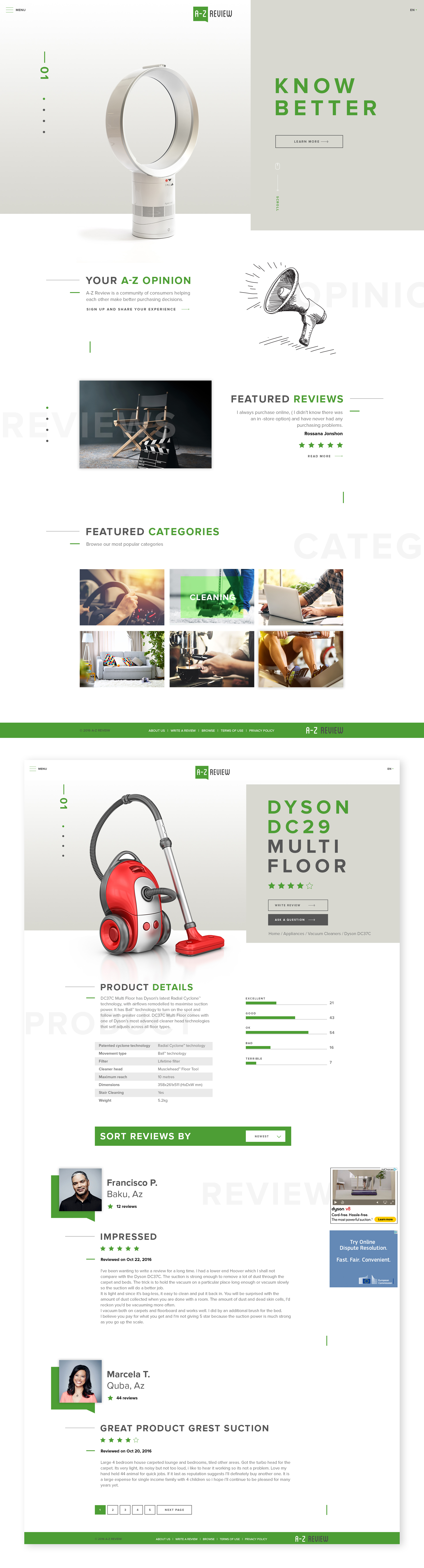 AZ Review website concept.
