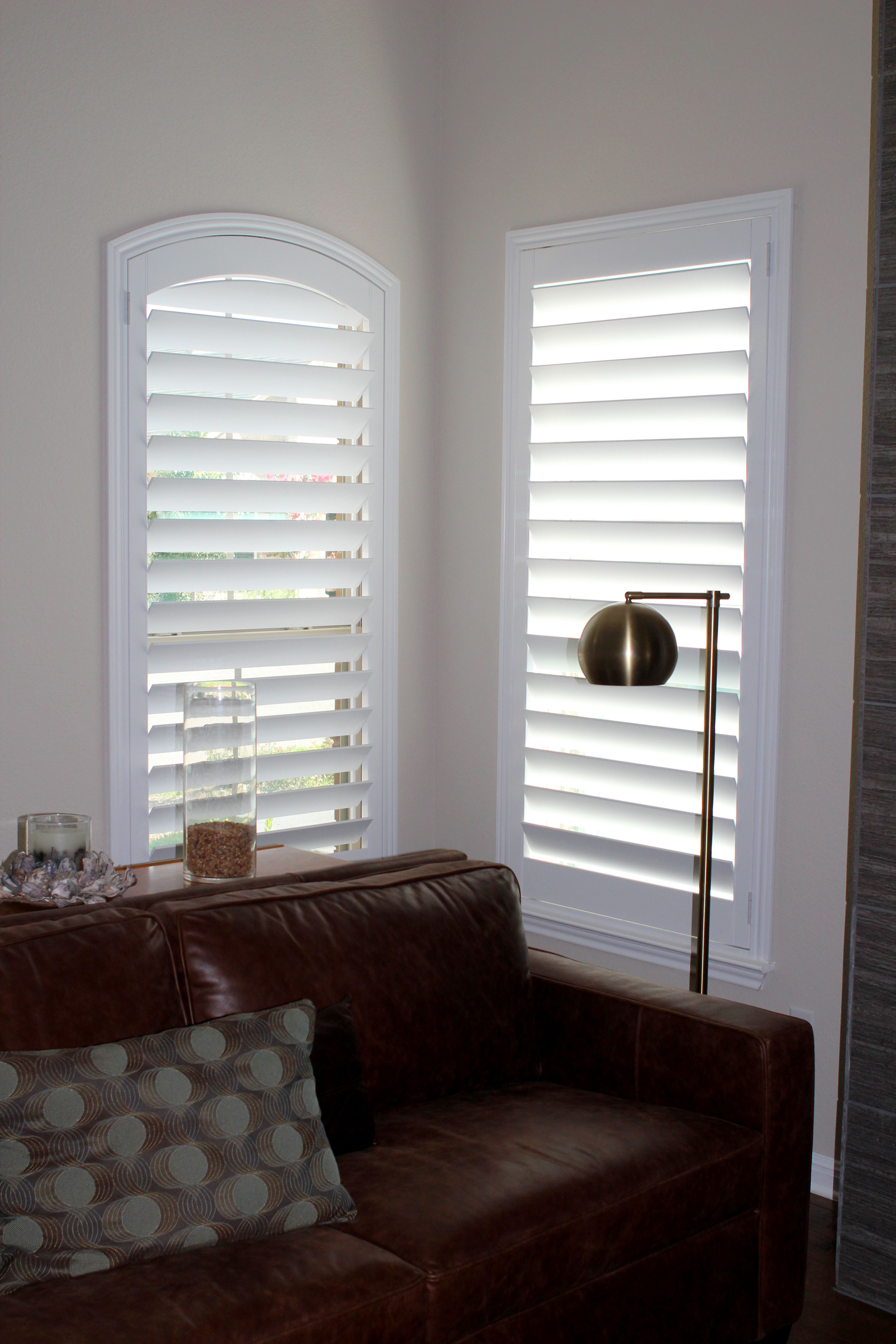 Real Wood Shutters On The Eyebrow Arch And In The Living Room