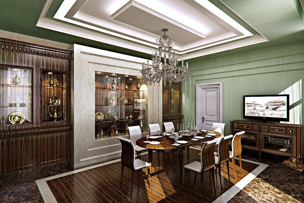 Country House In Artdeco Style Dining Room Buffets And Wenge Light Green Interior