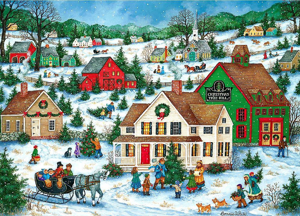 Bonnie White Christmas Tree Hill Christmas Art Folk Art Painting Folk Art