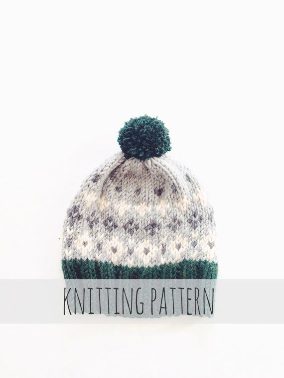 PATTERN for Pompom Winter Ski Fair Isle Patterned Alpine Beanie Cap ...