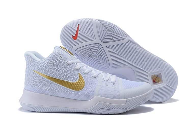 2017 Nike Kyrie 3 WhiteMetallic Gold Shoes For Sale Online