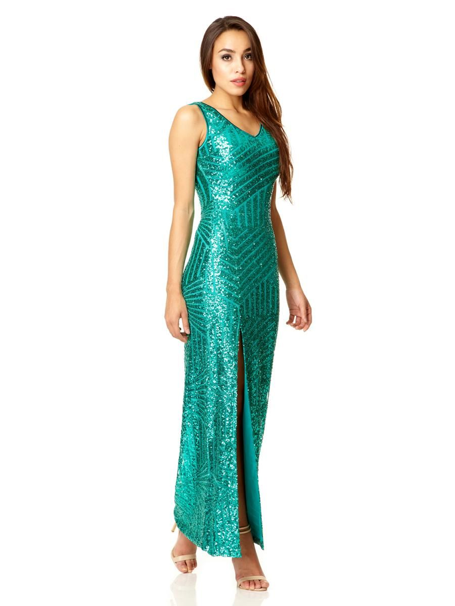 Green Sequin Zig Zag Split Maxi Dress - Quiz Clothing | Dresses and ...