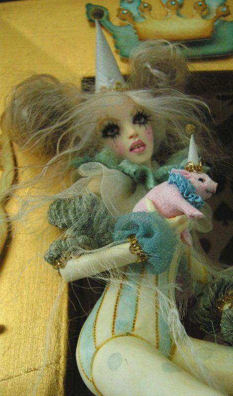 Alice in Circusland with pink pig by Nicole West. OOAK Doll. Burlesque. Harlequin.