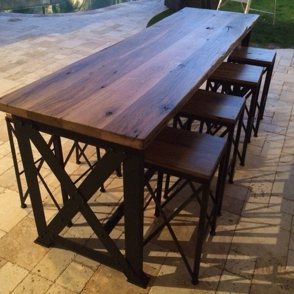 Reclaimed oak ash outdoor bar table outdoor bar table for Bar height patio furniture