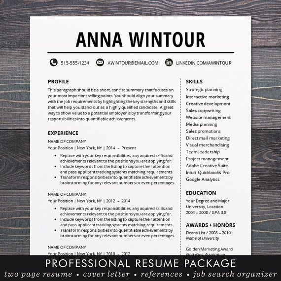 Modern Resume Template - CV Template for Word, Mac or PC - modern resume templates word
