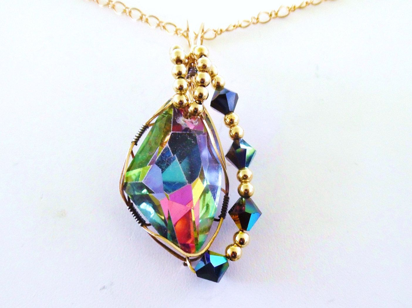 Gold filled wire wrapped pendant rainbow color crystal necklace