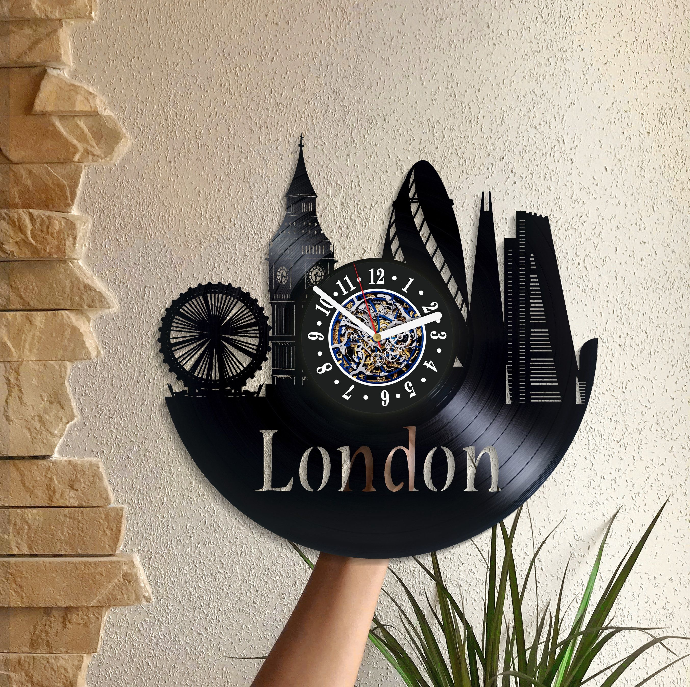 United Kingdom Gift London Room Art Lp Retro Vinyl Record Wall Clock Vintage Birthday For