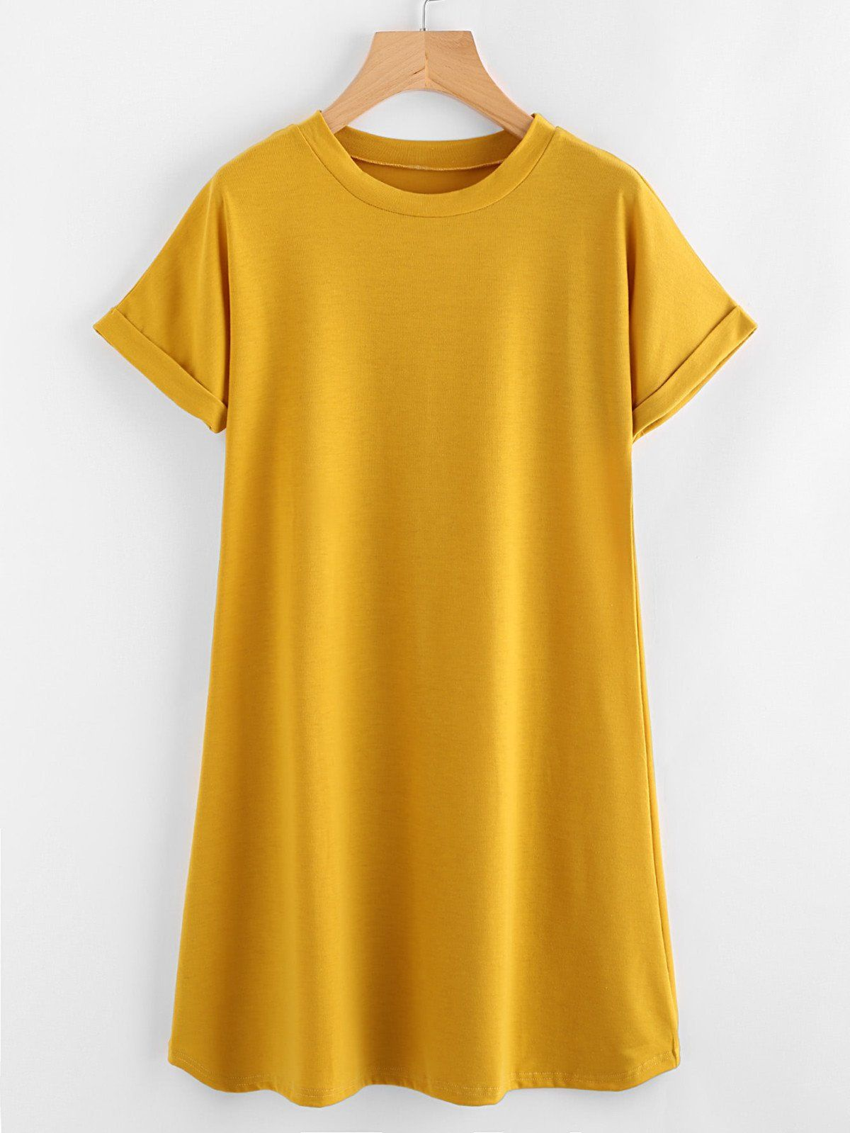Rolled sleeve basic tee dress the best deal ever contest