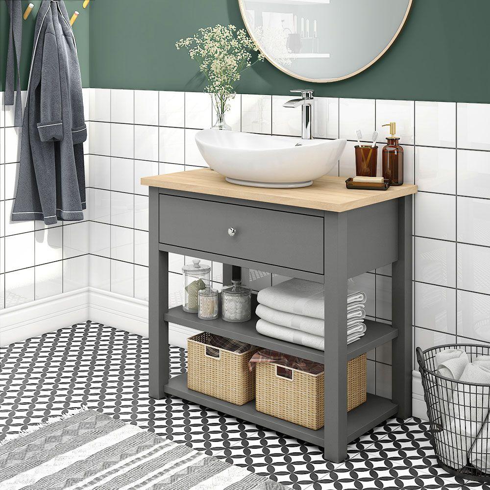 Trafalgar 840mm Grey Countertop Vanity Unit And Oval Basin Victorian Plumbing Uk Traditional Bathroom Vanity Units Grey Countertops