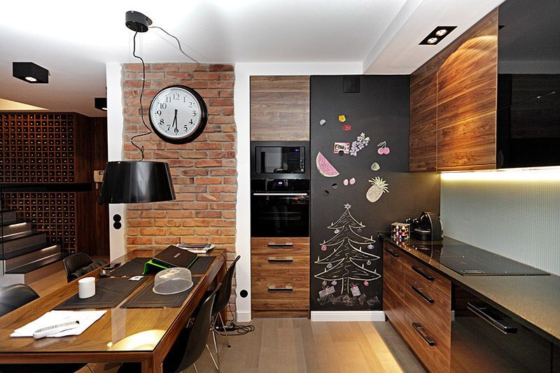 Brazowa Kuchnia Z Jadalnia Brown Kitchen Combined With Dining Room Small Kitchen Set Home Decor Home And Living